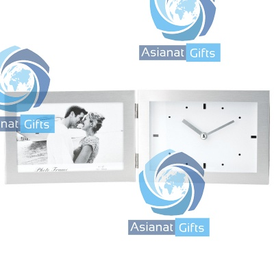Aluminum Clock Photo Frame Combo