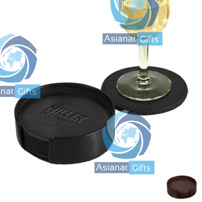 Round Eco-Friendly Leather Coaster Set