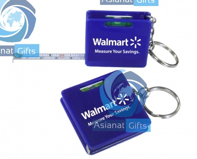 Measuring Tape Keychain With Level - BLUE