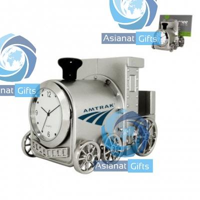 Locomotive Clock & Business Card Holder
